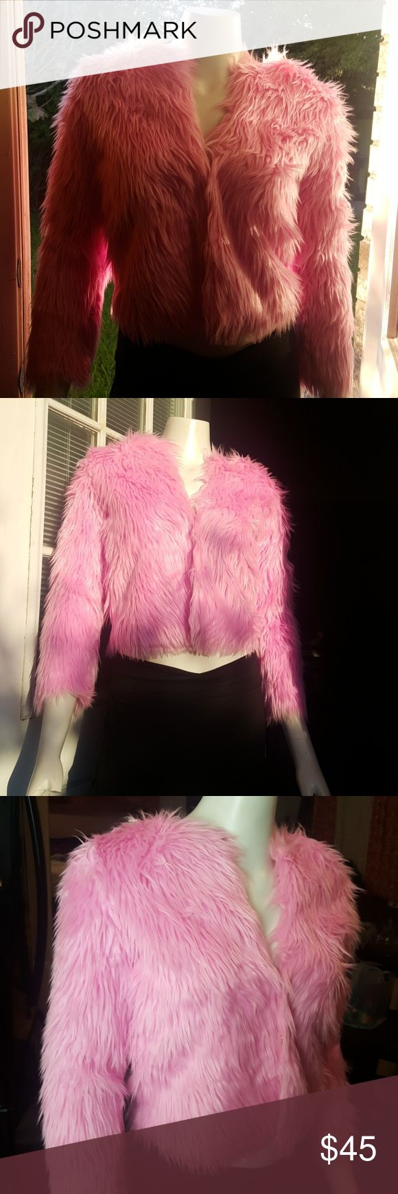 Faux fur cotton candy jacket. NWT. Hot pink furry jacket! Perfect for raves, festivals, cocktail parties. Dress up or down. HAODUOYI Jackets & Coats Puffers