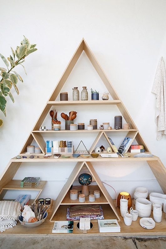 Triangle shelving general store restaurant retail design pinterest general store - Triangular bookshelf ...