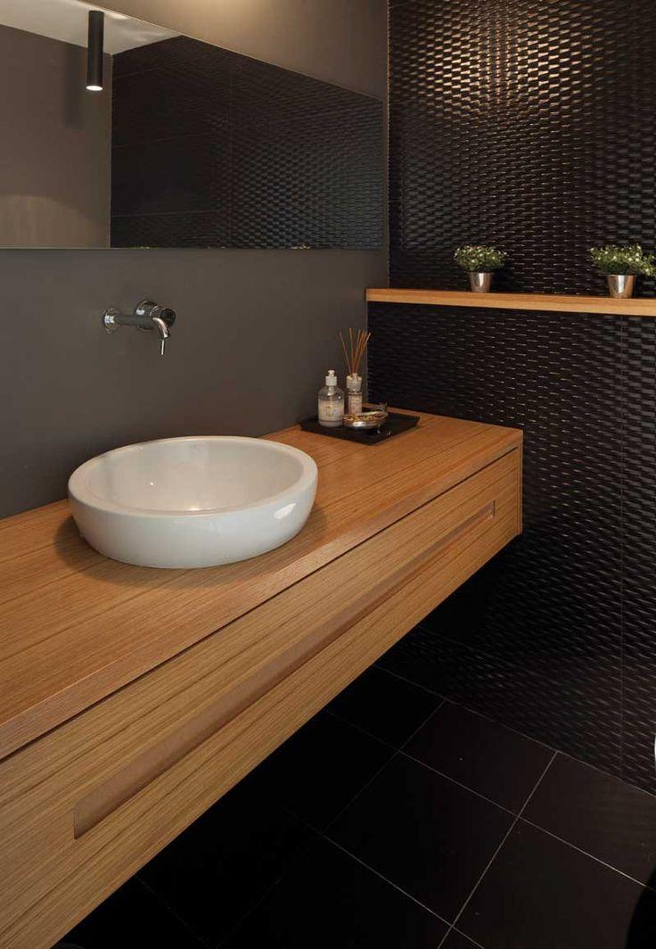 Black & wood bathroom