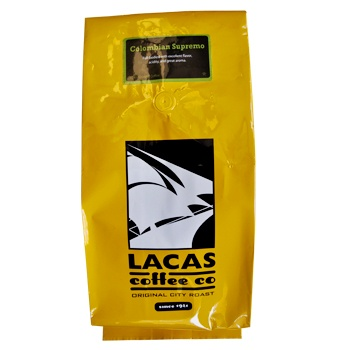 Lacas Coffee Colombian Supremo Coffee Beans 5lb Bag - http://www.greencoffeeoutlet.com/lacas-coffee-colombian-supremo-coffee-beans-5lb-bag/