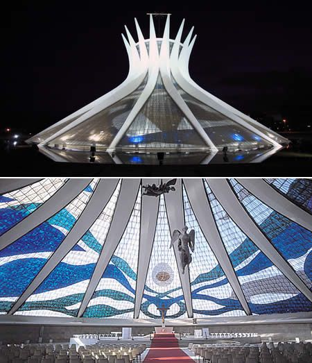 The Catedral Metropolitana Nossa Senhora Aparecida in the capital of Brazil is an expression of the architect Oscar Niemeyer. This concrete-framed hyperboloid structure, seems with its glass roof to be reaching up, open, to heaven.