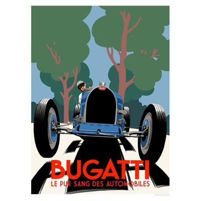 affiche vintage bugatti - Recherche Google