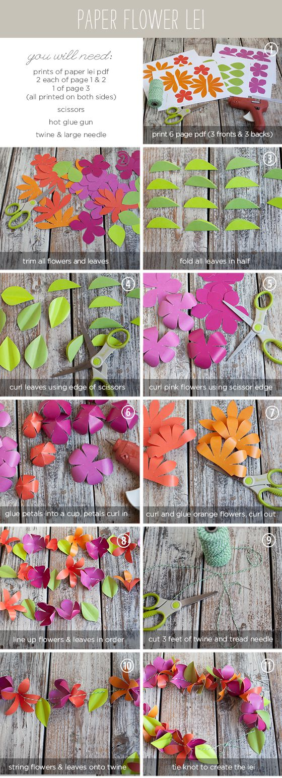 Making these today for the littles Aloha day at school! Awesome stuff on this site!! DIY Paper Flower Lei
