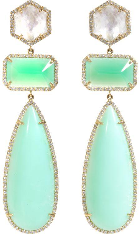 earrings: Rainbow Moonstone, Irene Neuwirth, Drop Earrings, Ireneneuwirth, Diamonds, Chrysoprase Drop, Rainbows, Moonstones, Neuwirth Rainbow