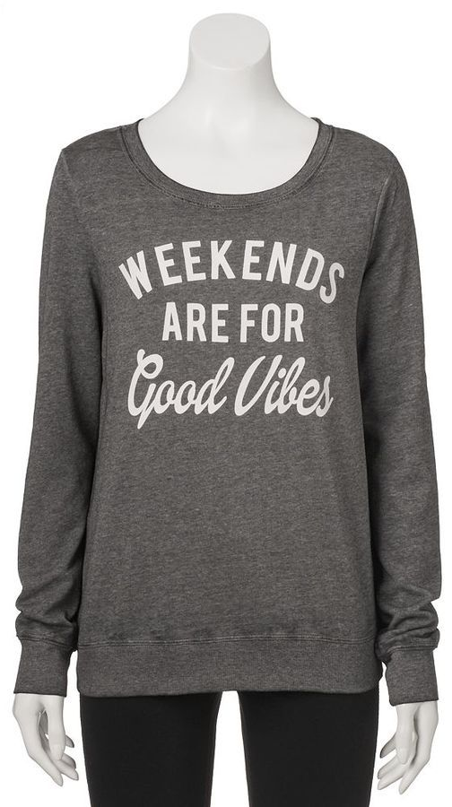 "Juniors' ""Weekends Are For Good Vibes"" Graphic Sweatshirt"