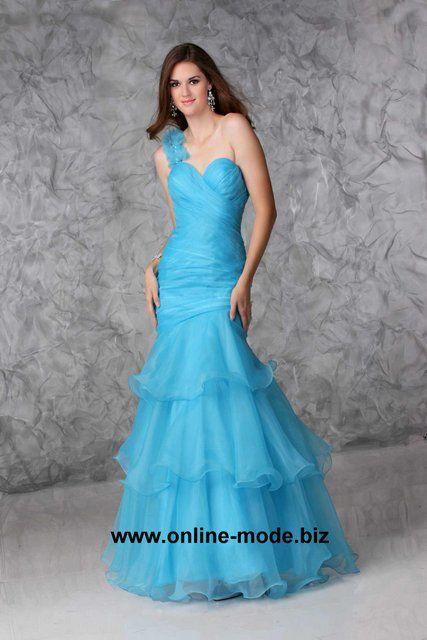 One Shoulder Abendkleid in Hell Blau von www.online-mode.biz
