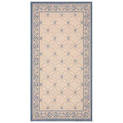 Astoria Grand Beasley Garden Gate Ivory/Navy Blue Indoor/Outdoor Area Rug