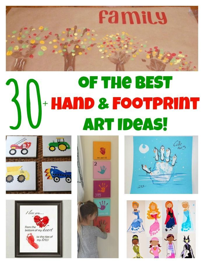 30+ of The BEST Hand and Footprint Art Ideas! Kids crafts with homemade cards, canvas, art, paintings, keepsakes using hand and foot prints!