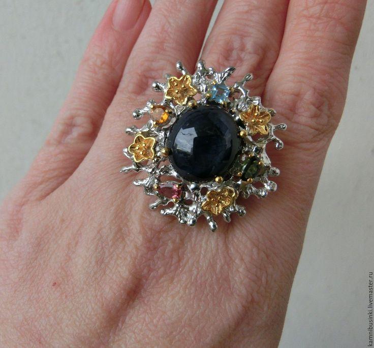Купить 19 р-р кольцо сапфир редкий 6 лучей звездчатый серебро 925 золото