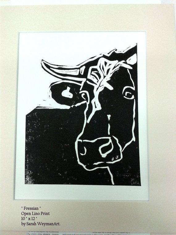 Fresian Cow Lino Print by sarahweymanart on Etsy, £18.00