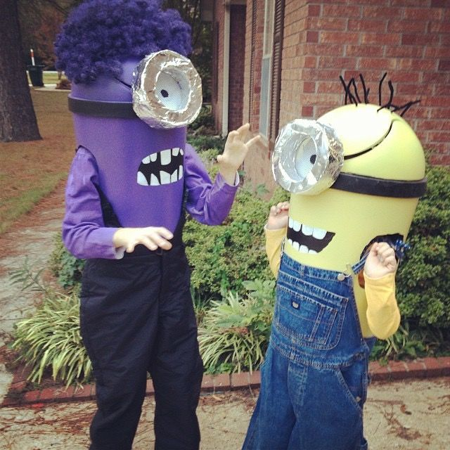 Minion Halloween costumes made out of trash cans