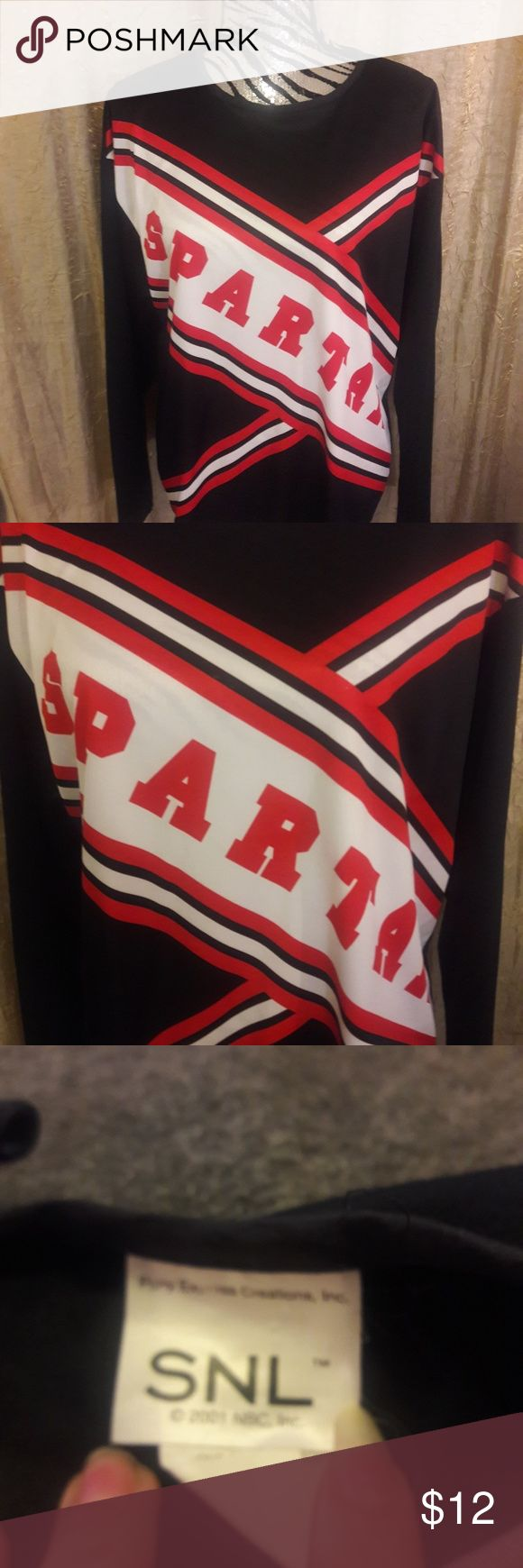 Snl Spartans cheerleader top (costume) Size one size black, red and white Snl Spartans cheerleader costume top. 100% polyester. Tops