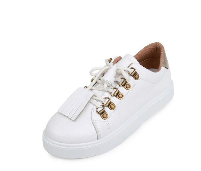 Women's Shoes High Quality Women PU Leather Flats Shoes Fashion White Flat Shoes Women Brand Ladies Creepers Casual Shoes Loafer