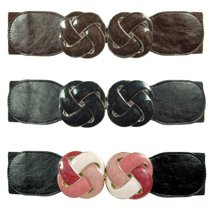 Enamel swirl buckle elastic belt <br /> <br />Size: 75cm <br />