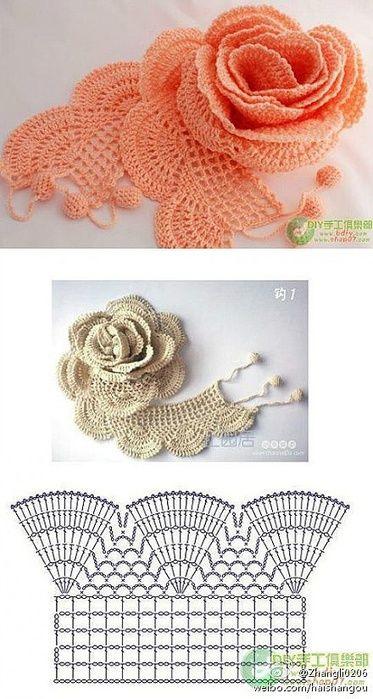 Crochet Rose Motif - Free Crochet Diagram - (patronesparacrochet.blogspot)
