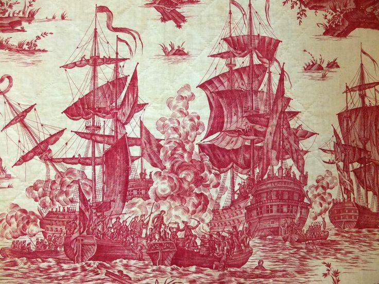 Oberkampf & la Toile de Jouy : deux expos pour un bicentenaire - Versailles in my pocket Quilted Toile de Jouy Naval battle *See blog for more beautiful images and information*