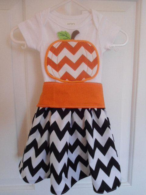 Halloween Fall Chevron Pumpkin - Black Chevron - CUSTOM - Sizes 12 Months to 6 Years by littledebsdresses, $34.50