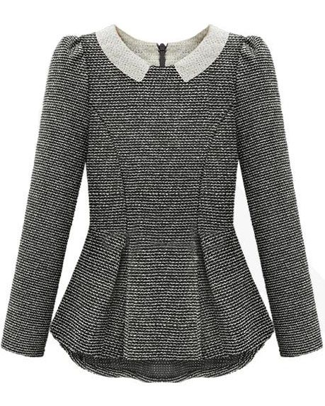 Grey Long Sleeve Ruffle Back Zipper Blouse GBP£18.98