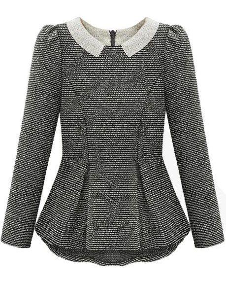 Grey Long Sleeve Ruffle Back Zipper Blouse US$31.97