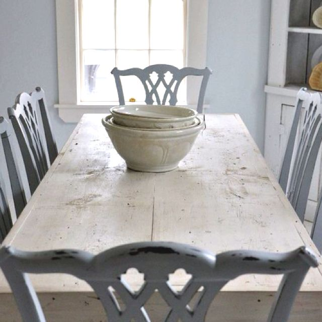 ♕ rustic farm table and elegant painted chairs ~ Terry John Woods