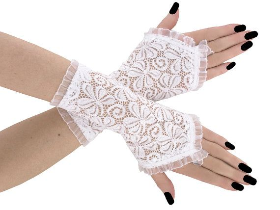 White lace fingerless gloves wrist warmers by FashionForWomen