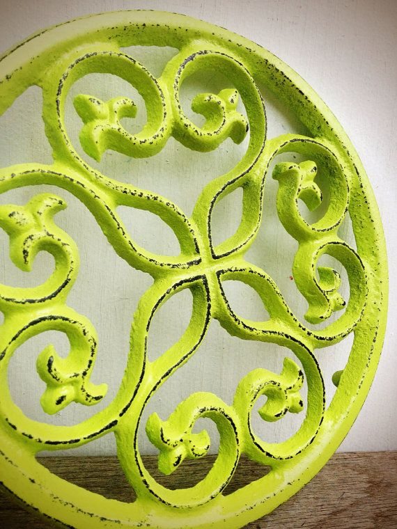 """BOLD TRIVET vibrant chartreuse lime green   // ornate round floral design // rustic shabby cottage chic // hand painted // kitchen decor, $15.00 7"""" x 7"""""""