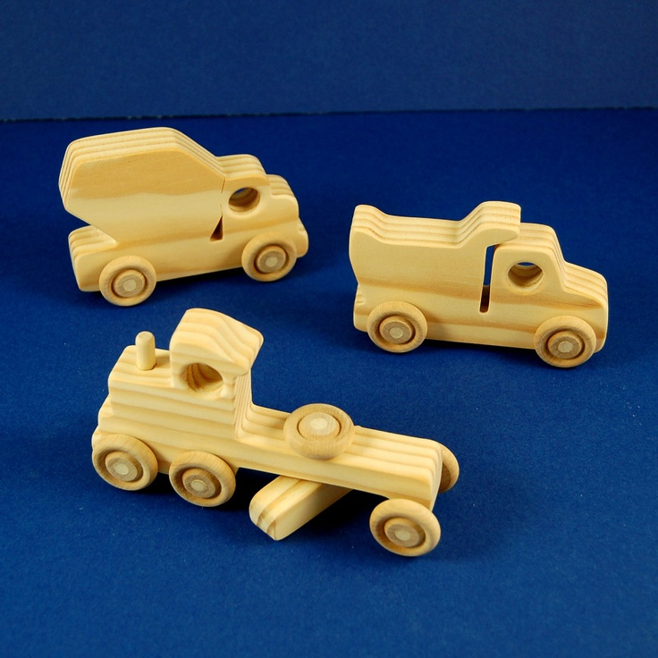 Truck Party Ideas: Package of 9 Wood Toy Construction Trucks - Great for Toddler and Childrens Birthdays. $24.50, via Etsy.