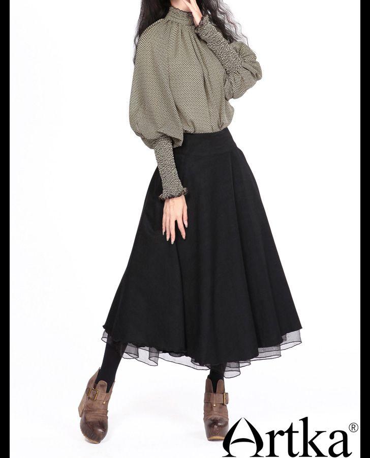 Длинная юбка в сборку чёрного цвета, 16617623237 купить за 11520 руб. с доставкой по России, Украине, Беларуси и миру | Юбки | Artka: интернет-магазин обуви и одежды Artka
