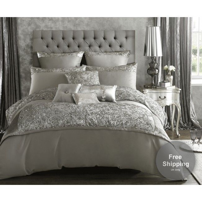 Bring some sophisticated style to your bedroom with the stunning Alexa bedlinen. Made from soft, silver satin this sumptuous bedding is embellished with a luxurious panel of sparkling silver sequins in an intricate scrolling design.