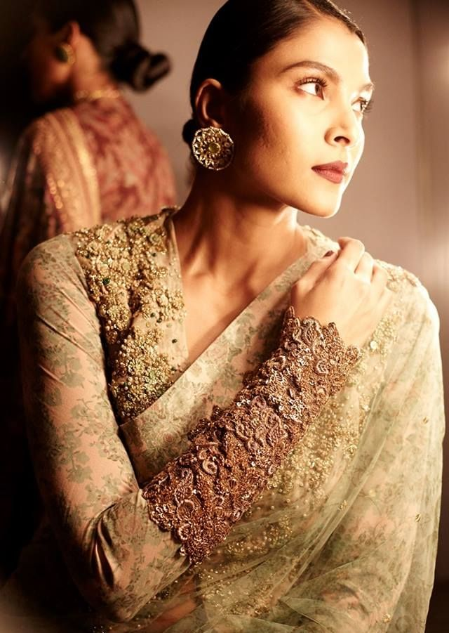 Sabyasachi Mukherjee - Indian bride - Indian wedding - zardozi - gold and blush - Indain couture #thecrimsonbride