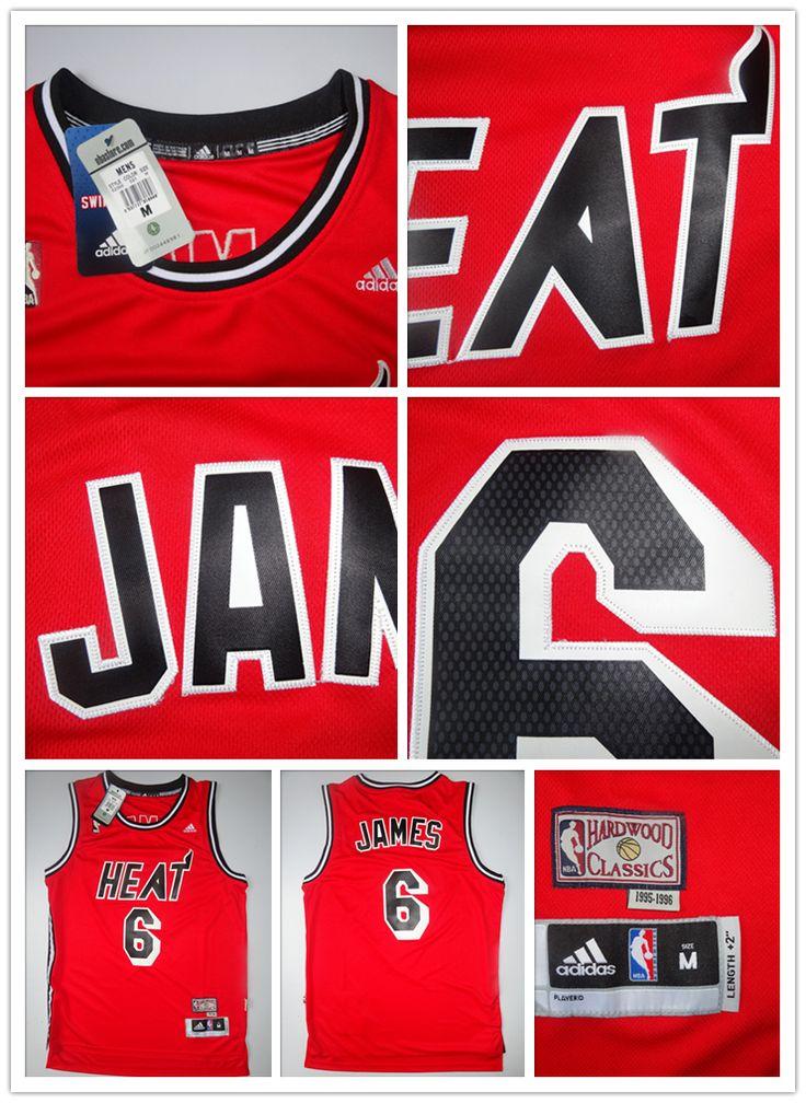 lebron james miami 6 jersey red original 1990s vintage jersey s