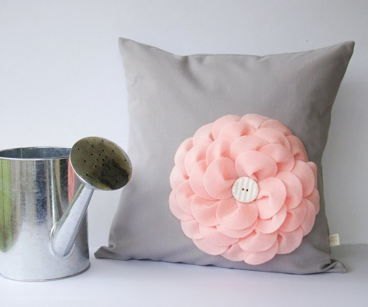We love this #bloom felt flower pillow! Perfect for a chair in the #nursery. #pinparty