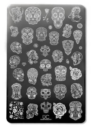 sugar skull nail art, sugar skull nails, nail stamp art, stamp nail, nail art, diy, nail stamp plates, stamp plates, DIY nail art