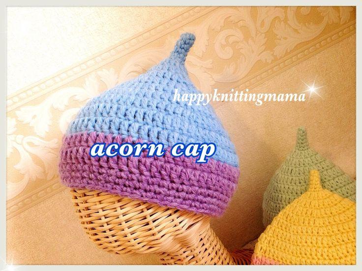 どんぐり帽子の編み方【かぎ針編み】crochet acorn cap ☆English subtitle☆