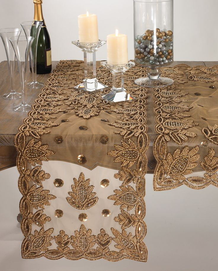 "Elegant Table Runners | Elegant Lakshmi Hand Beaded Gold Table Runner 16""x72"" New 