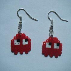 Boucles d'oreilles fantôme pac man rouge - créabijoux lolo - bijoux fantaisie