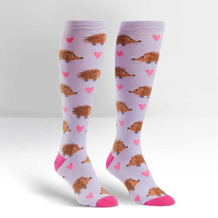 Knee high ladies hedgehog socks. You'll be in hedgehog heaven with these lovely socks. A great non-prickly gift for hedgehog fans. One size fits most. We were t