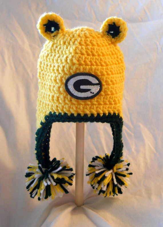Green Bay Packers Crochet Baby Ear Flap Hat with Ears I want!