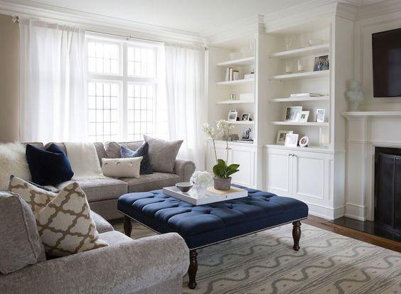 Como decorar en gris y azul marino tu sala salon hola for Como decorar una sala gris