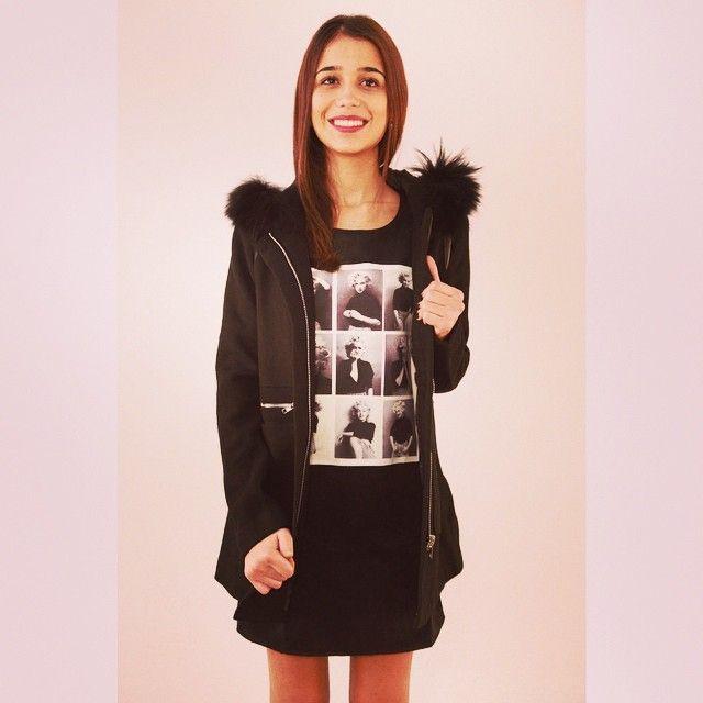 Manteau magnifique bientôt dispo 69,90 € ❄️❤️#manteau #ootd #caban #fourrure #style #mode #girl #zonedachat #noir #classe #marilynmonroe
