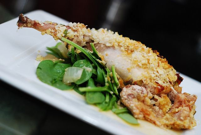 French roast rabbit with Italian sausage and mustard crust