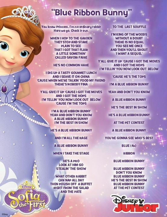 Lyrics to the Blue Ribbon Bunny song from Sofia the First. #DisneyJunior