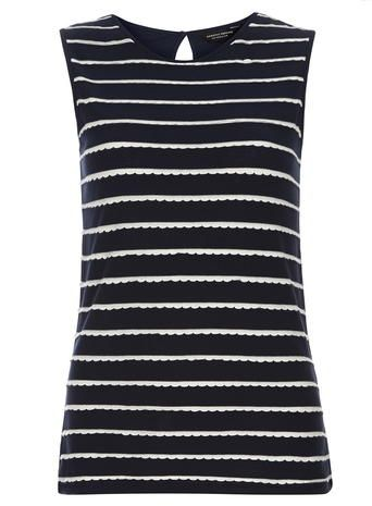 Navy stripe scallop shell top