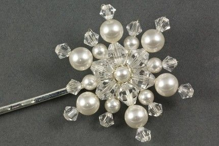 The Icy Snowflake hair grip is perfect for a midwinter wedding, an embellished snowflake made with a mixture swarovski bicone crystals and pearls of various sizes.