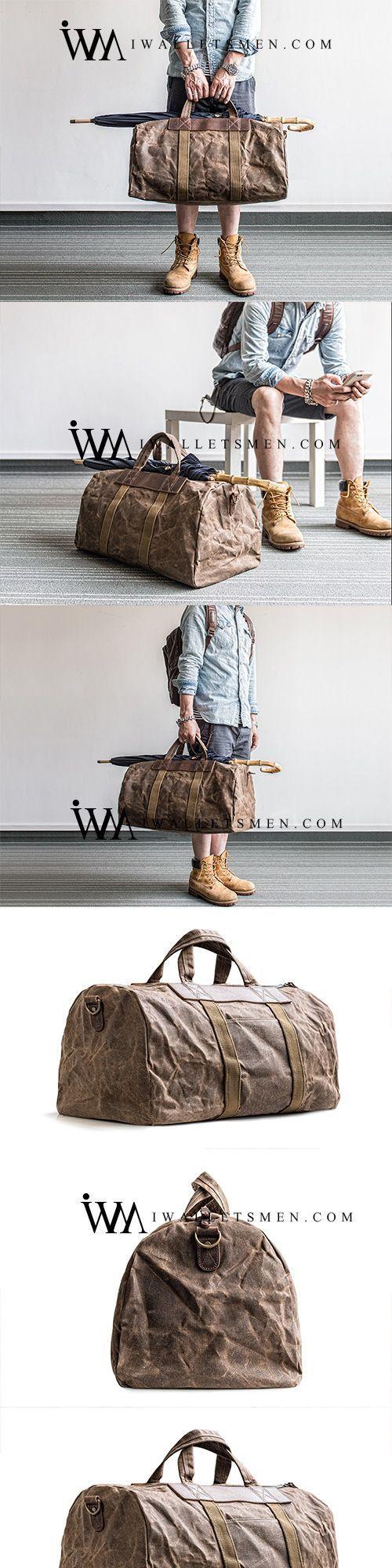 CANVAS MENS COOL WEEKENDER BAG TRAVEL BAG DUFFLE BAGS OVERNIGHT BAG HOLDALL BAG FOR MEN #mensaccessoriesbags