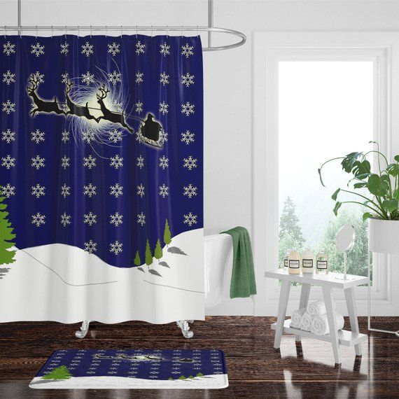 Christmas Shower Curtain W Bathmat Set Options Santa S Sleigh