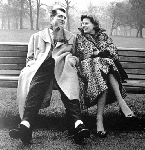 Cary Grant and Ingrid Bergman, during filming of Indiscreet (1958).