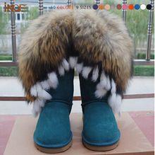Verdadeiro couro de carneiro natureza ovelhas ártico borla pele botas de neve para mulheres moda inverno sapatos plana motocicleta atacado inicialização(China (Mainland))