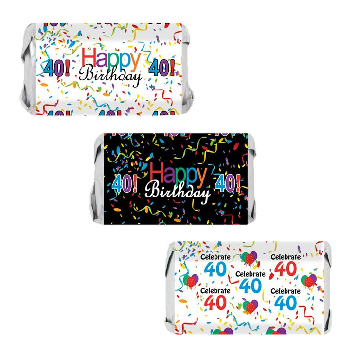 Happy 40th Birthday Sticker Decorations for Hershey Miniatures Bars (Set of 54)