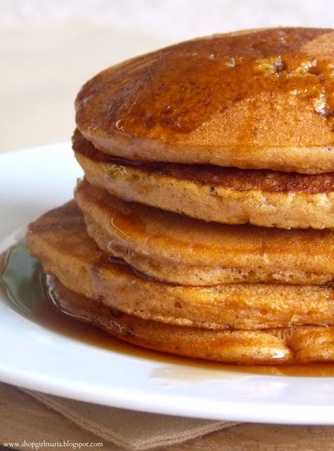 Spice pancakes made with a spice cake mix and pumpkin puree!!